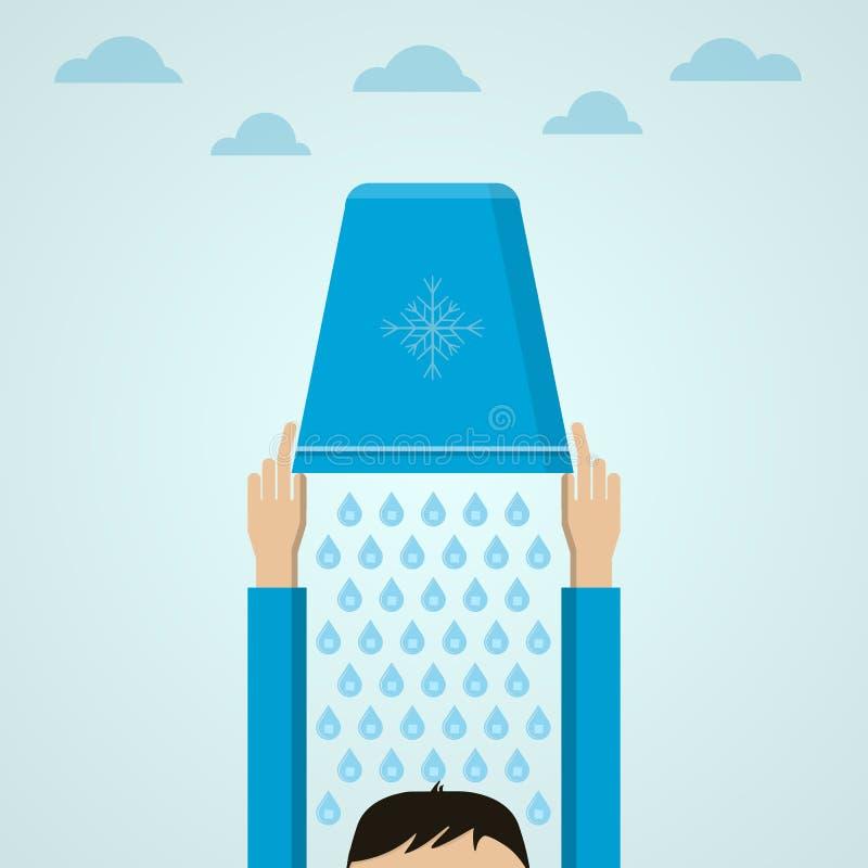 Ice Bucket Challenge. Flat illustration. stock illustration