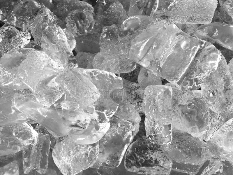 Ice in the bucket close up on top view background royalty free stock images