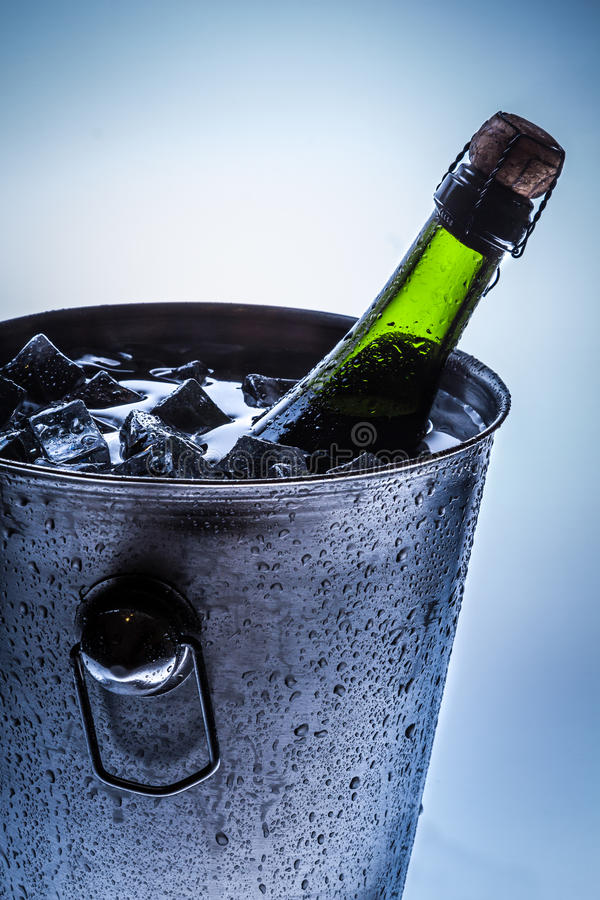Ice Bucket with cold champagne and ice stock image