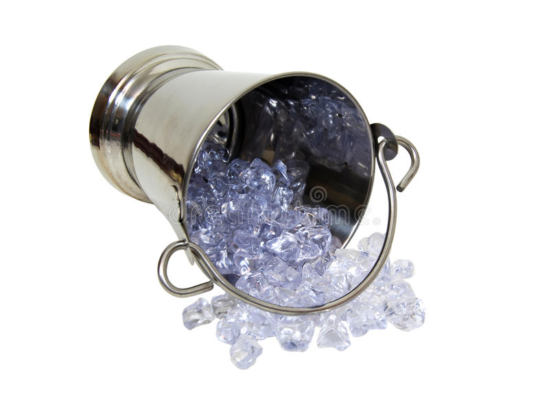Ice bucket tipped over stock image