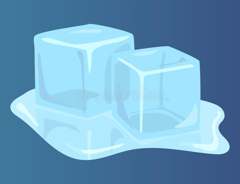 Ice caps snowdrifts icicles elements arctic snowy cold water. Set of ice caps seasonal style sharp frozen icon. Snowdrifts icicles and elements winter decor royalty free illustration