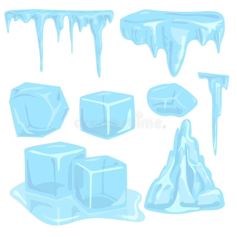 Ice caps snowdrifts icicles elements arctic snowy cold water winter. Set of ice caps seasonal style sharp frozen icon. Snowdrifts icicles and elements winter vector illustration