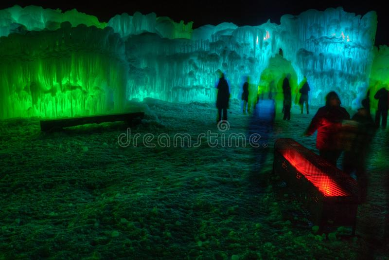 Ice Castle just outside of the Twin Cities Minnesota in Stillwater, Wisconsin royalty free stock photos