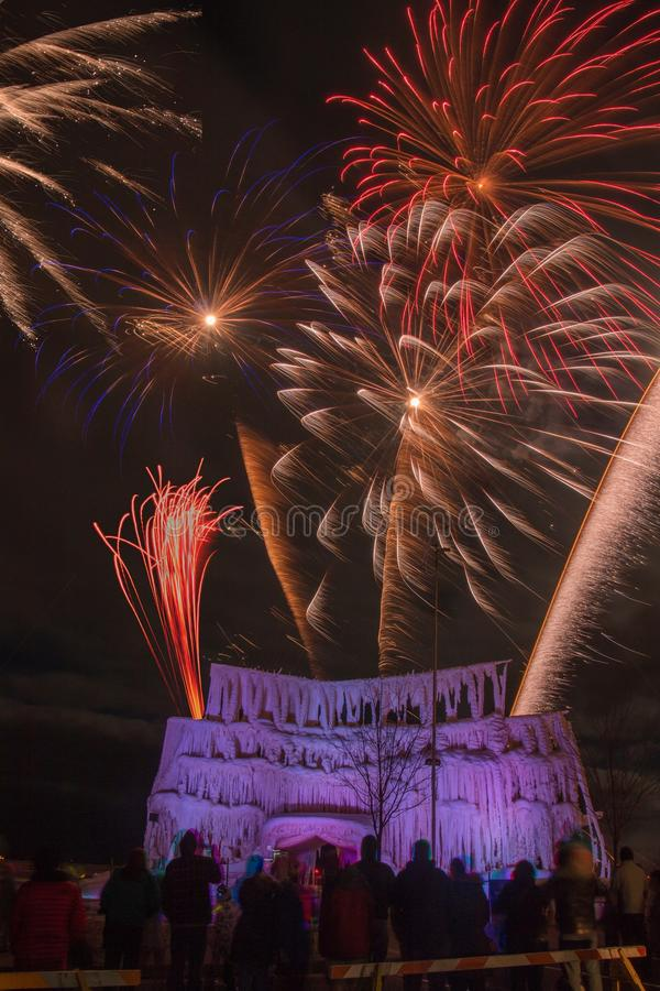 The Ice Castle was part of the Annual Winterfest in Superior, Wi. Sconsin and Duluth Minnesota and was complete with Fireworks royalty free stock photography