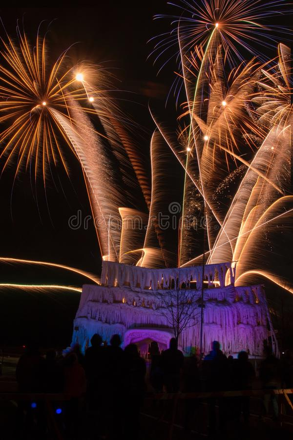 The Ice Castle was part of the Annual Winterfest in Superior, Wi. Sconsin and Duluth Minnesota and was complete with Fireworks royalty free stock photos