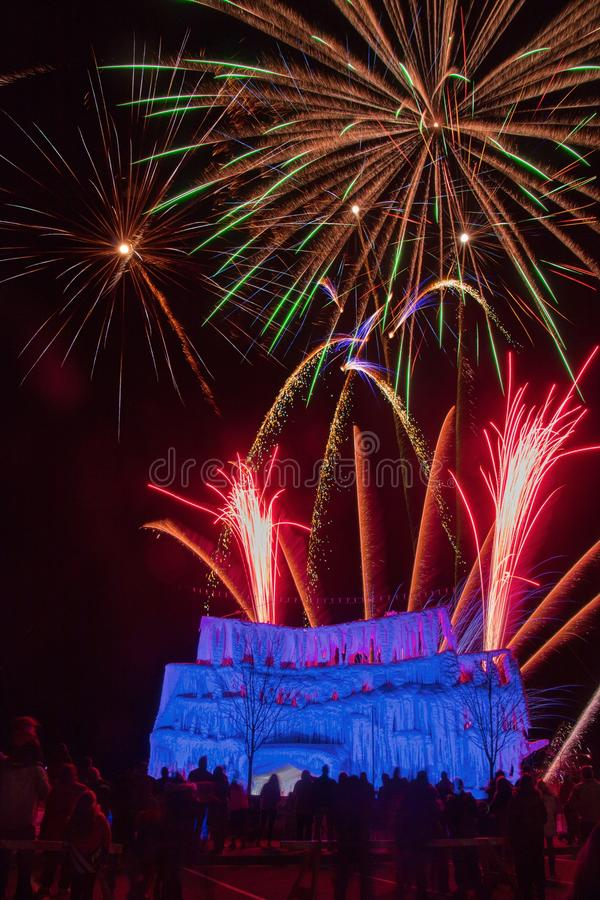 The Ice Castle was part of the Annual Winterfest in Superior, Wi. Sconsin and Duluth Minnesota and was complete with Fireworks stock image