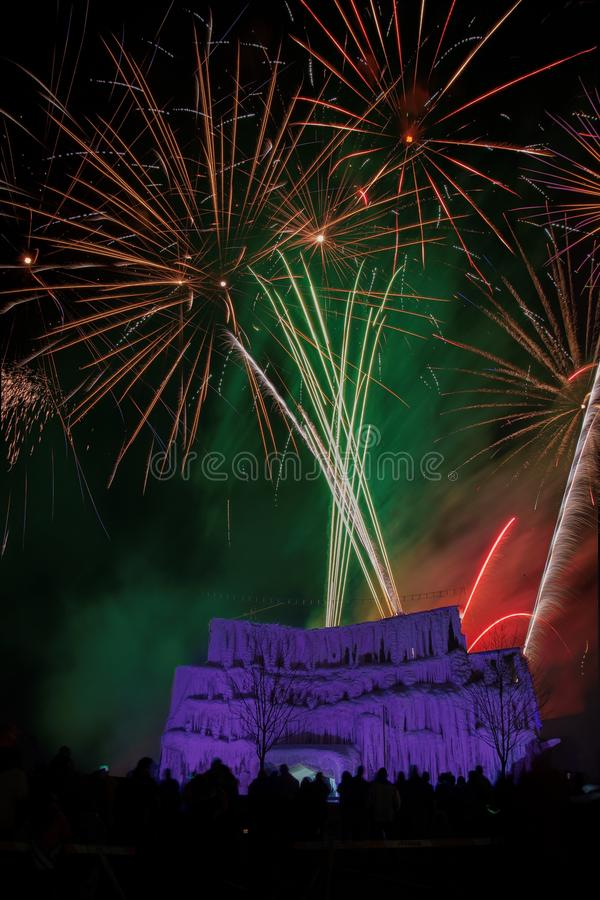 The Ice Castle was part of the Annual Winterfest in Superior, Wi. Sconsin and Duluth Minnesota and was complete with Fireworks royalty free stock photo