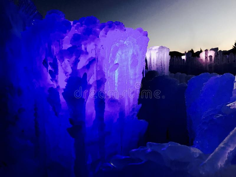 Ice castles at night stock photo