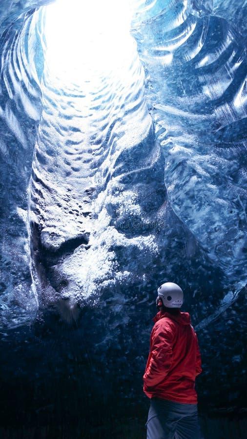 The Ice Cave `Crystal Cave` in Vatnajökull glacier near Hof in Iceland.  stock photos