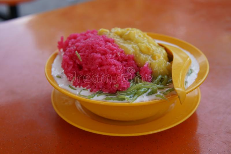 Ice cendol. Close-up of a delicious iced cendol with beans, corn and pulut rice stock photo