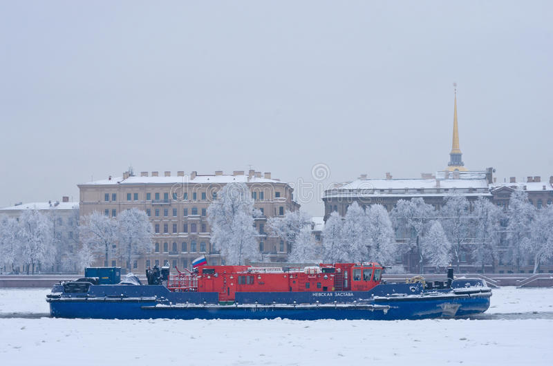 Ice-class tugboat on Neva river in St. Petersburg, Russia royalty free stock photography