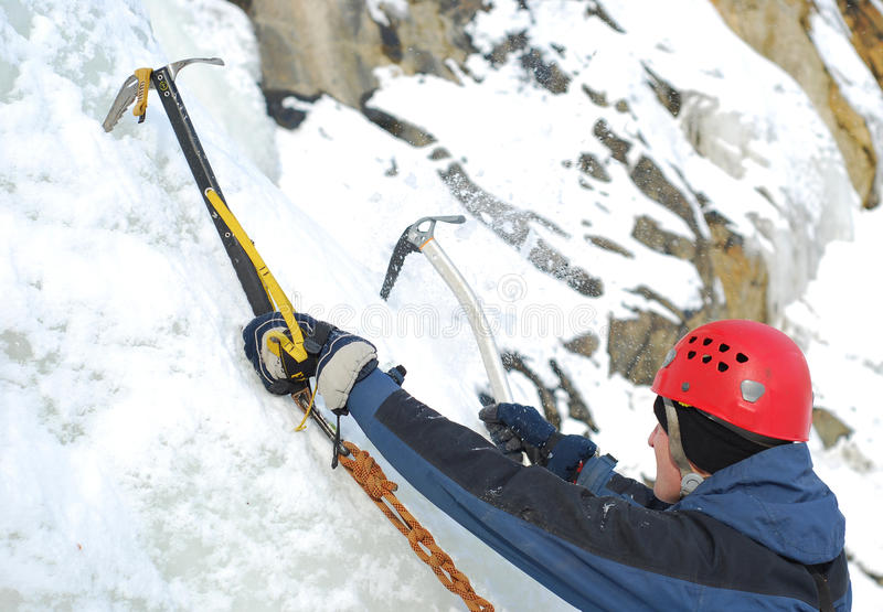 Ice climber. During mountain conquest stock image