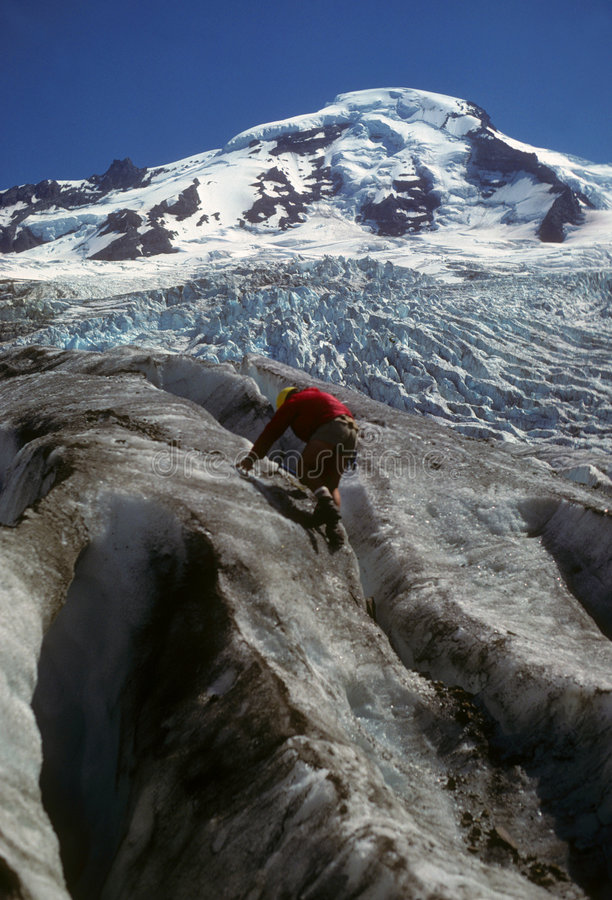 Ice Climber on icefall below Mt Baker
