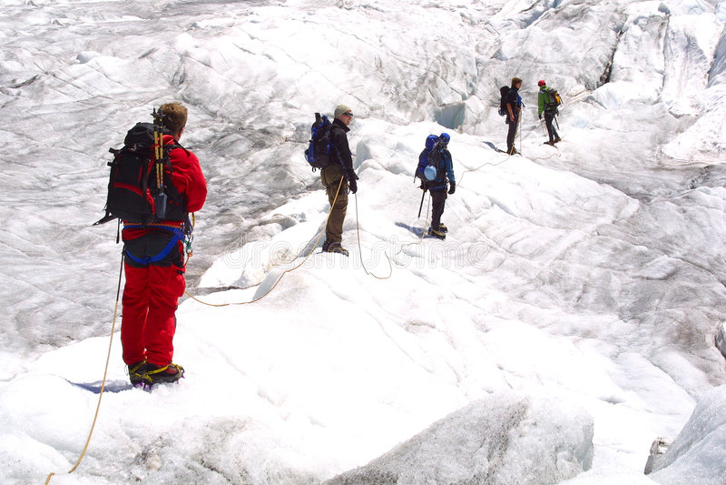 Ice climbing group stock photo