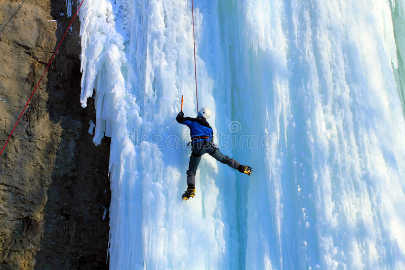 Ice climbing. The North Caucasus royalty free stock image