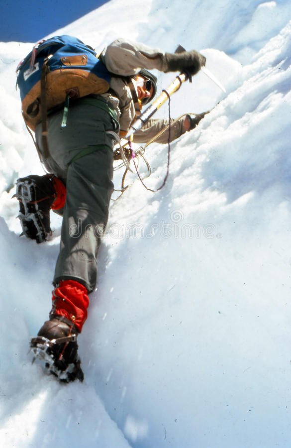 Ice climbing on the Puyallup Glacier. MT RAINIER, WASHINGTON, MAR 20, 1972 - Ice climbing on the Puyallup Glacier,Mt. Rainier NPCascadesWashington stock image