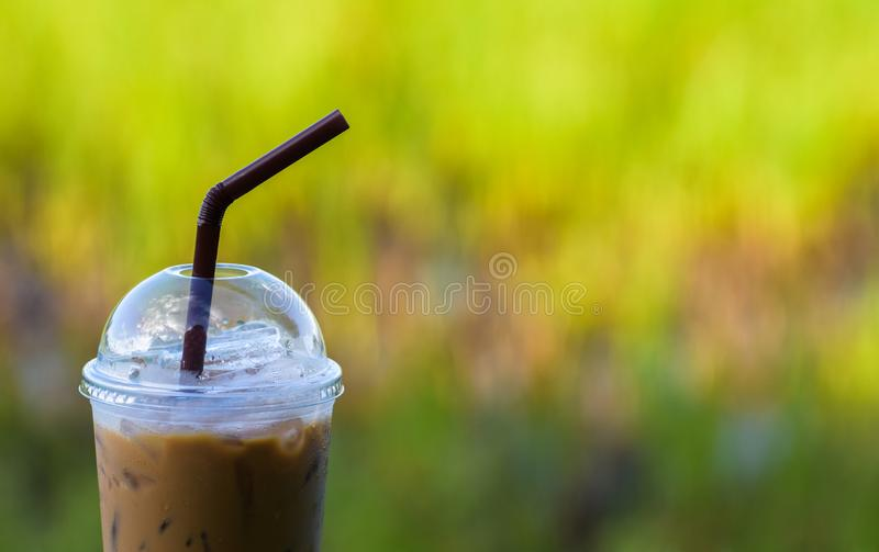 Ice coffee with blur background, Iced espresso, Cold drink in summer. Americano, beverage, black, blurred, bokeh, brew, brown, cafe, caffeine, cappuccino stock photography