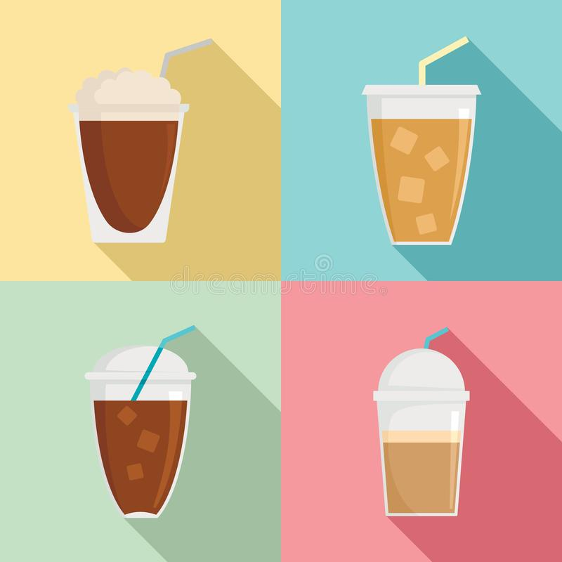 Ice coffee cream cold cup icons set, flat style. Ice coffee cream cold brew cup icons set. Flat illustration of 4 Ice coffee cream cold brew cup vector icons for royalty free illustration