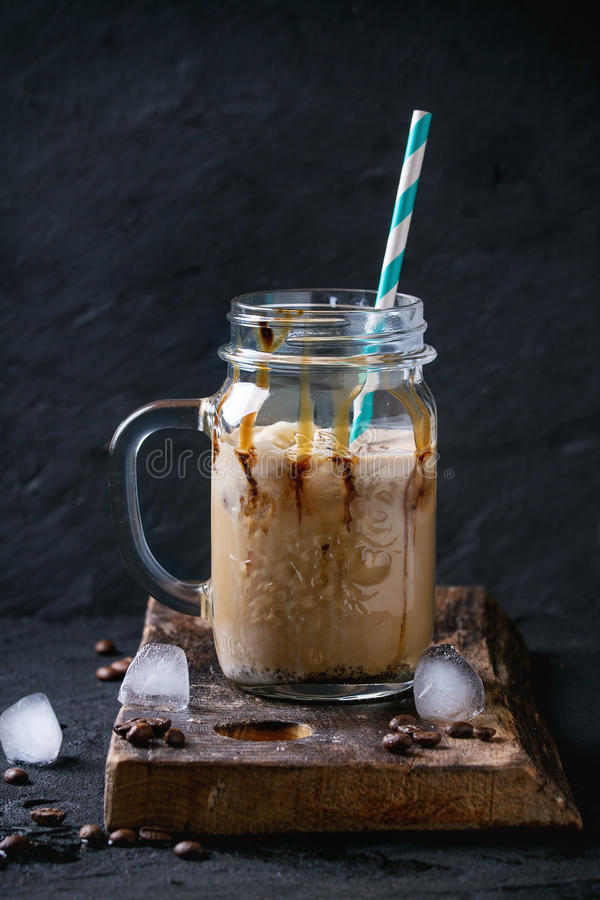 Ice coffee with cream royalty free stock photo