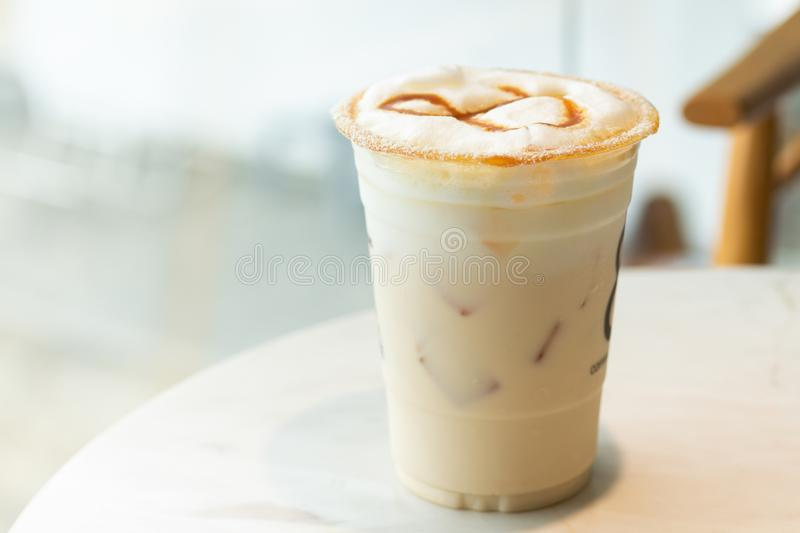 Ice Coffee, energy to work in the morning. Have a break, food and beverage concept.  stock image