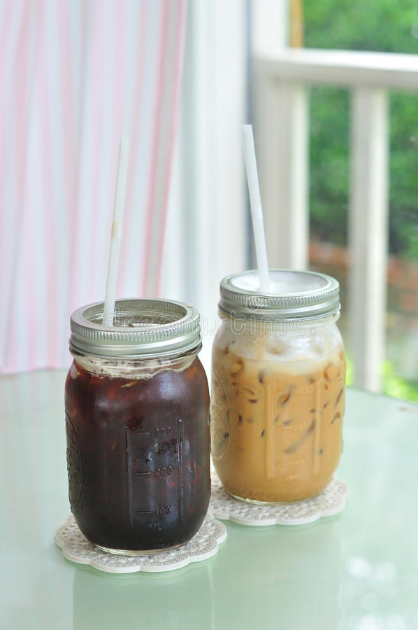 Ice coffee and ice black coffeee. Ice Americano and Ice Latte stock photos