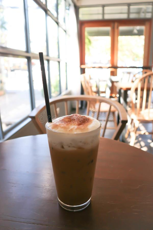 Ice coffee or iced cappuccino. Ice coffee or a glass of iced cappuccino stock photos