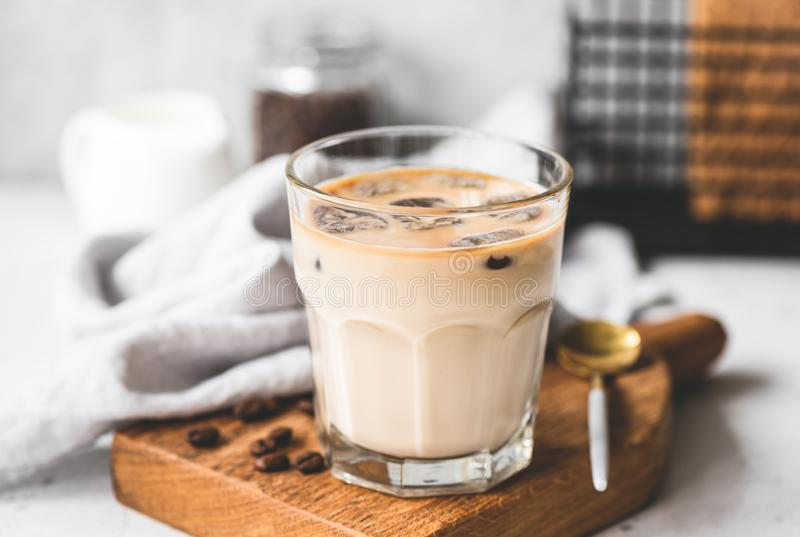 Ice Coffee Latte In Glass. Refreshing Ice Cold Drink. Energy Boost royalty free stock images