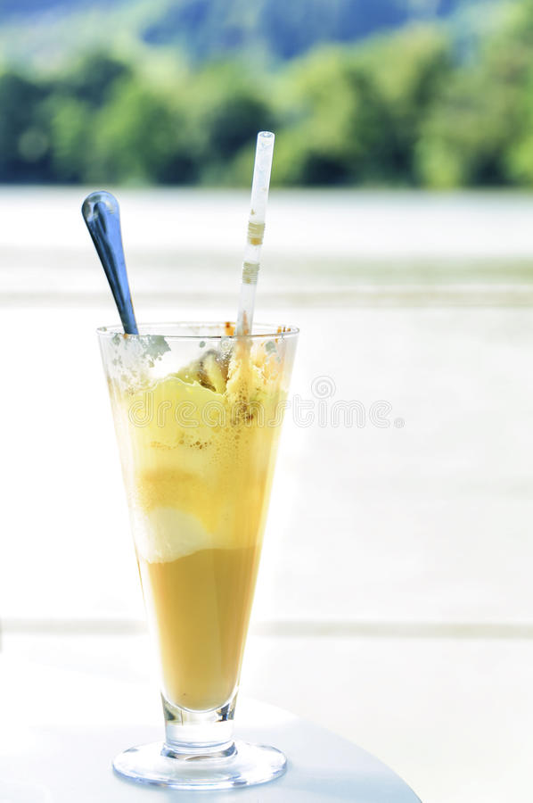 Ice coffee with vanilla ice cream and whip royalty free stock photography