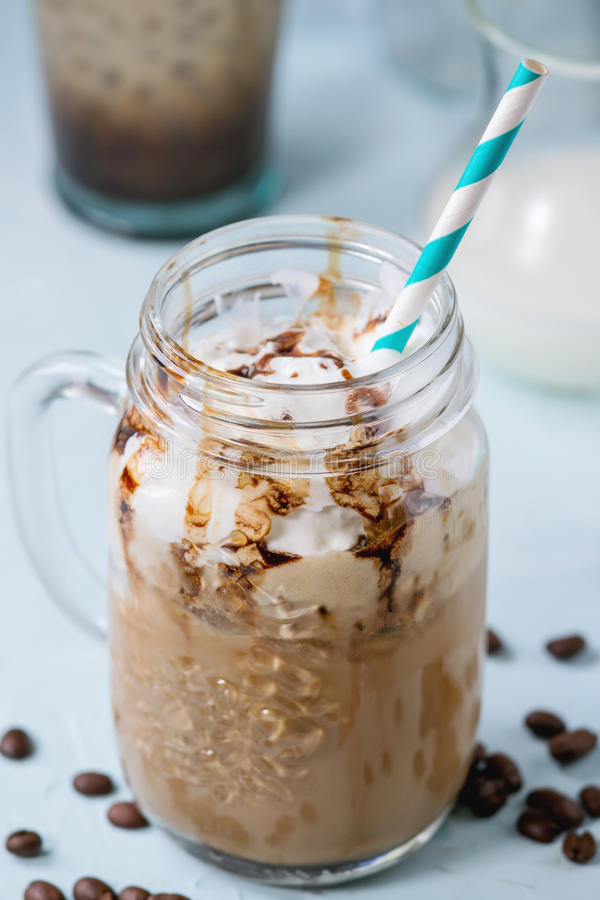 Free Ice Coffee With Cream Royalty Free Stock Photography - 69471077