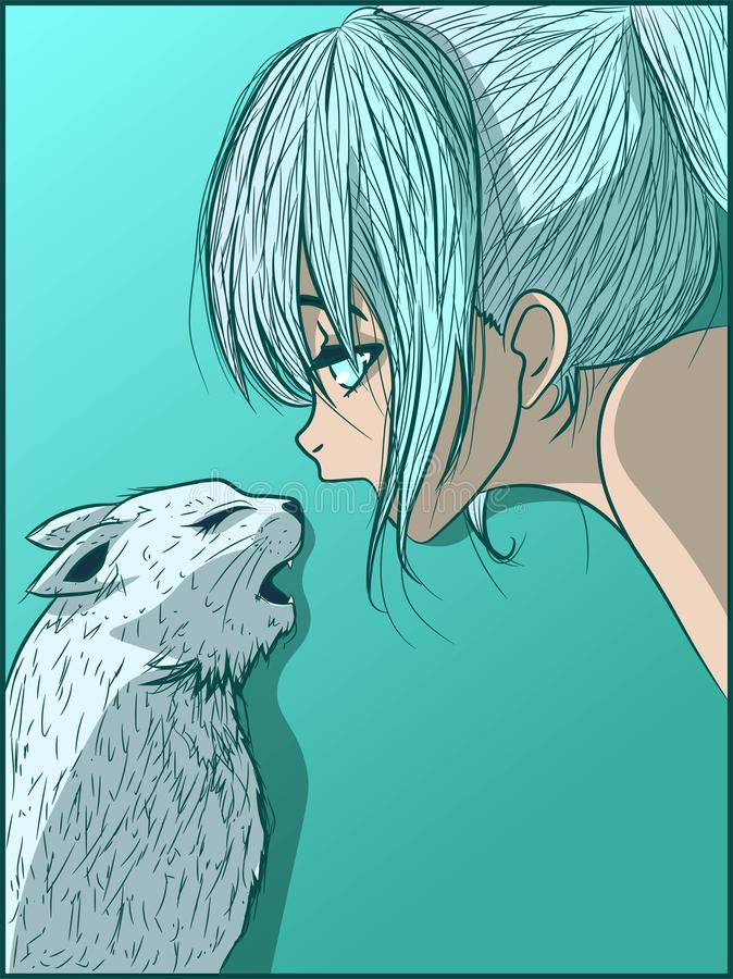 Ice cold anime girl and her kitty talking to each other. Manga kid and her pet in a winter frozen image. Low temperature and friendship stock illustration
