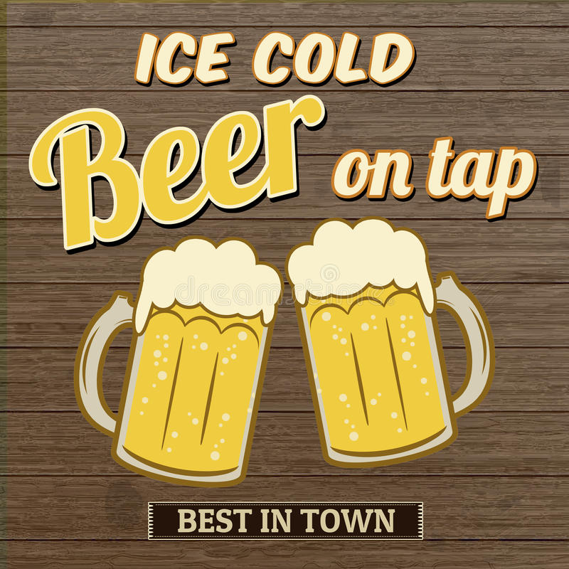 Ice cold beer on tap poster design. On wooden background, vector illustration vector illustration