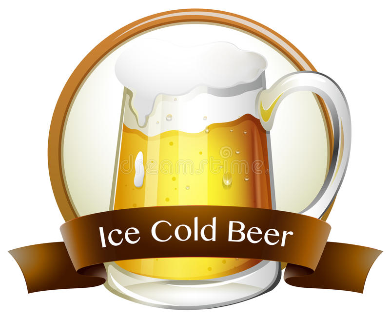 Ice cold beer. Text logo stock illustration