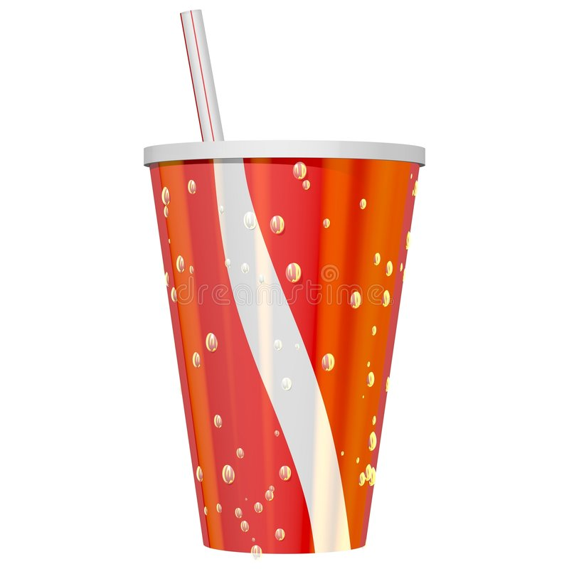 Ice Cold Drink. Thirst quenching ice cold drink isolated on white royalty free illustration