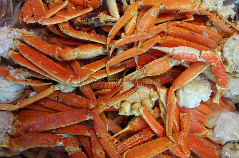 Ice cold king crab legs detail royalty free stock photography