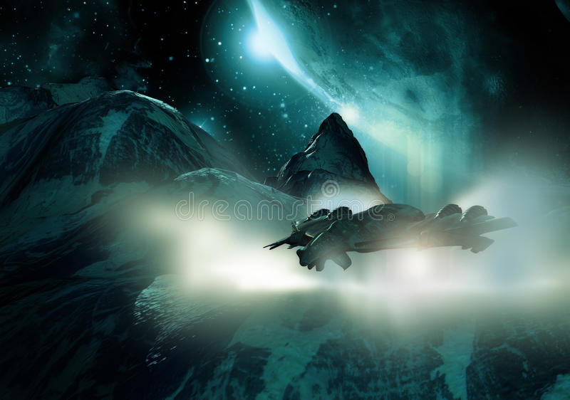 Ice-cold landing. Stealth spaceship landing on an ice-cold planet vector illustration