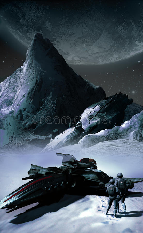 Ice-cold spaceship. Astronauts of a fighter spacecraft finding the wreck of a crashed old spaceship, on an ice-cold planet stock illustration
