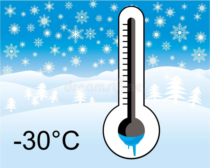Ice cold thermometer, winter landscape. Frozen ice cold thermometer, winter landscape in background stock illustration