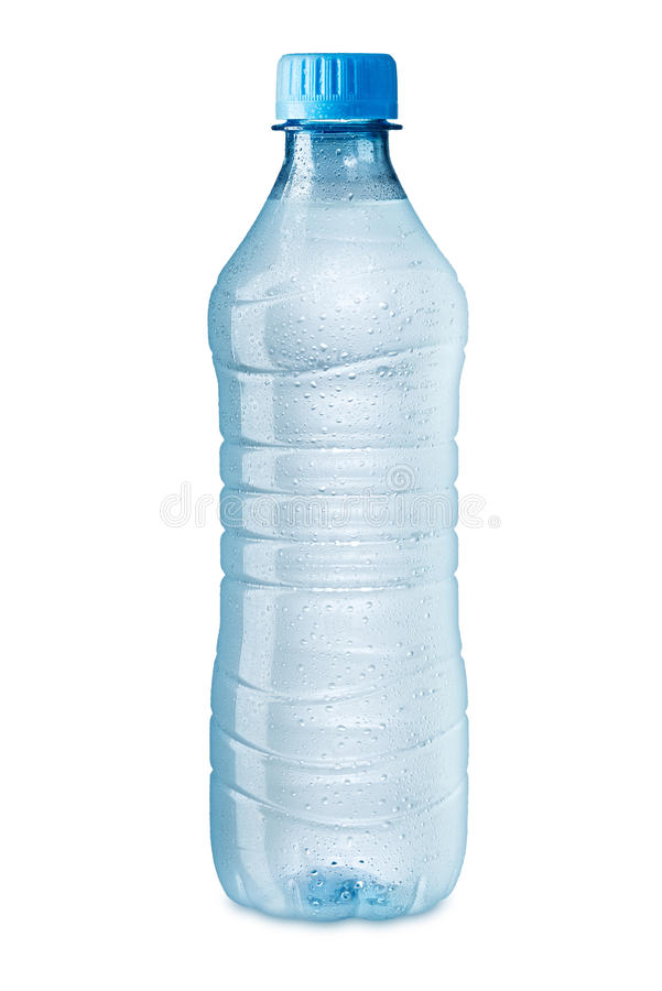 Ice cold water bottle. On white background royalty free stock image