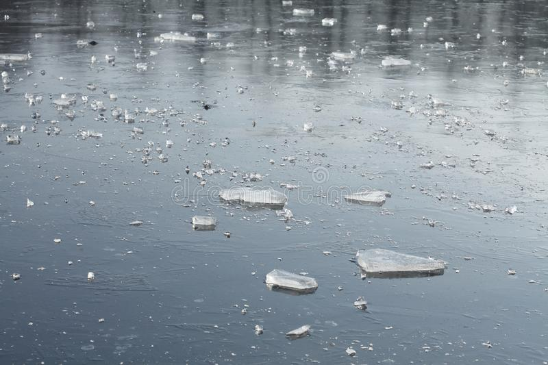 Ice on an icebound lake. Ice cover on an icebound lake royalty free stock image