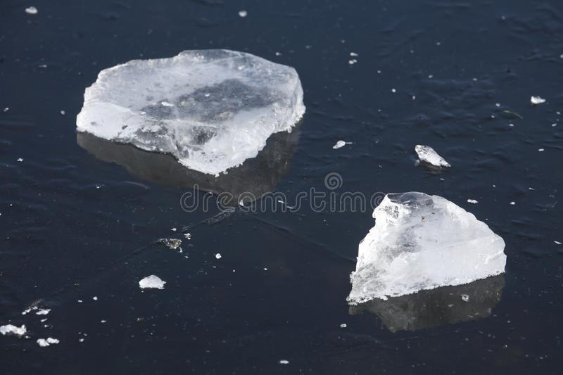 Ice on an icebound lake. Ice cover on an icebound lake stock photo
