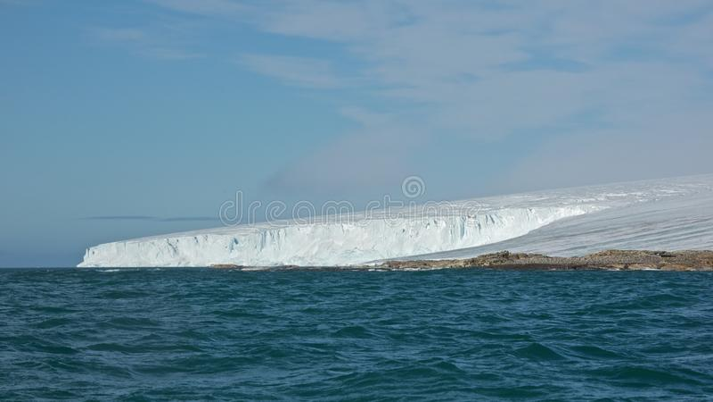 Ice Covered Andreeneset in Kvitoya, Svalbard stock images