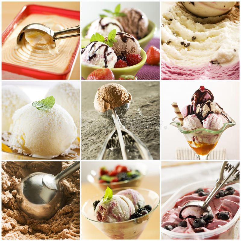 Ice cream. Beautiful ice cream collage made from nine photograph royalty free stock photography