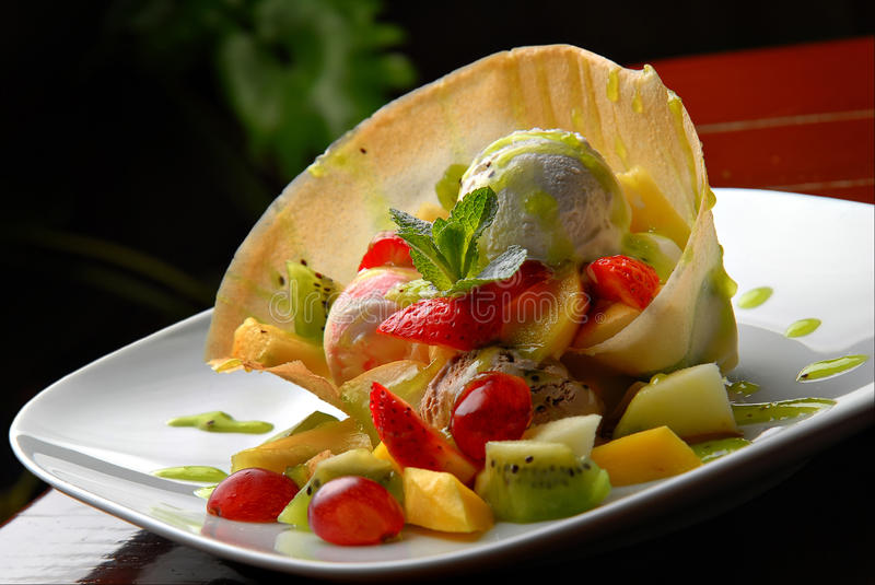Download Ice-cream stock image. Image of party, melon, plate, cream - 17734417