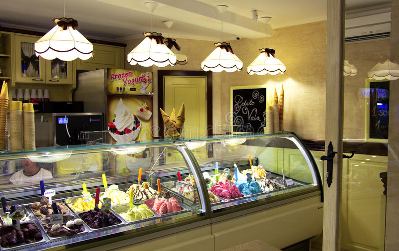 Ice cream. And frozen yoghurt shop in budva's old town, montenegro royalty free stock images