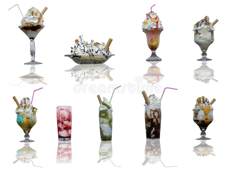 Ice Cream. Assorted ice cream cups with reflection on white background stock photos
