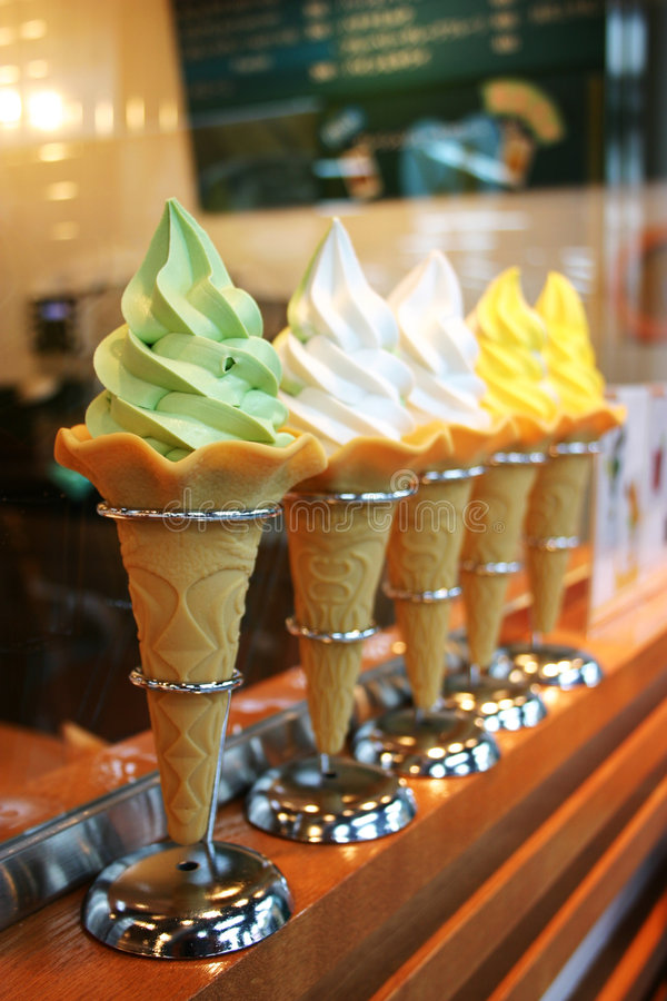 Ice cream. Display with five soft ice cream cone different flavor
