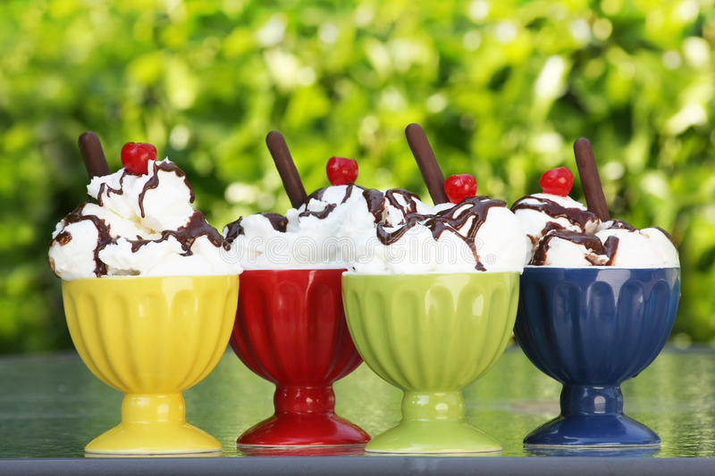Ice cream. Sundaes with cherries on top stock photos