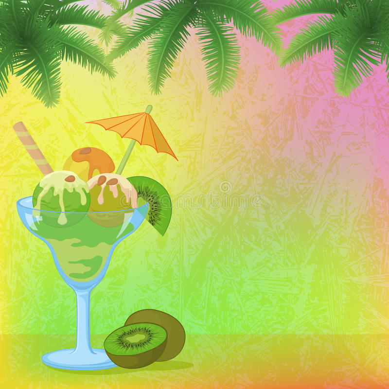 Free Ice Cream, Almonds, Palm Branches And Kiwi Stock Images - 54718934