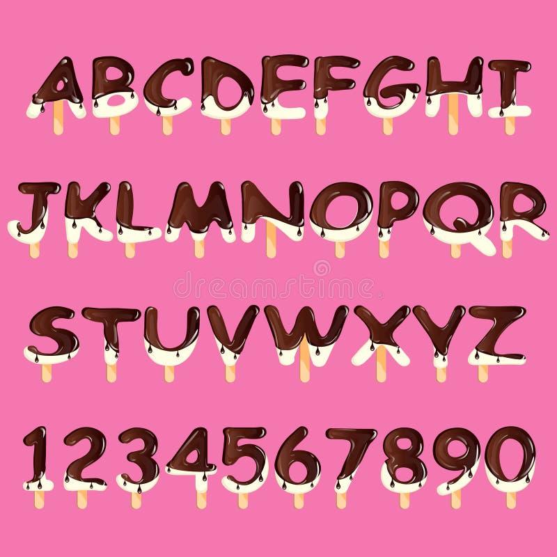 Ice cream alphabet isolated vector illustration