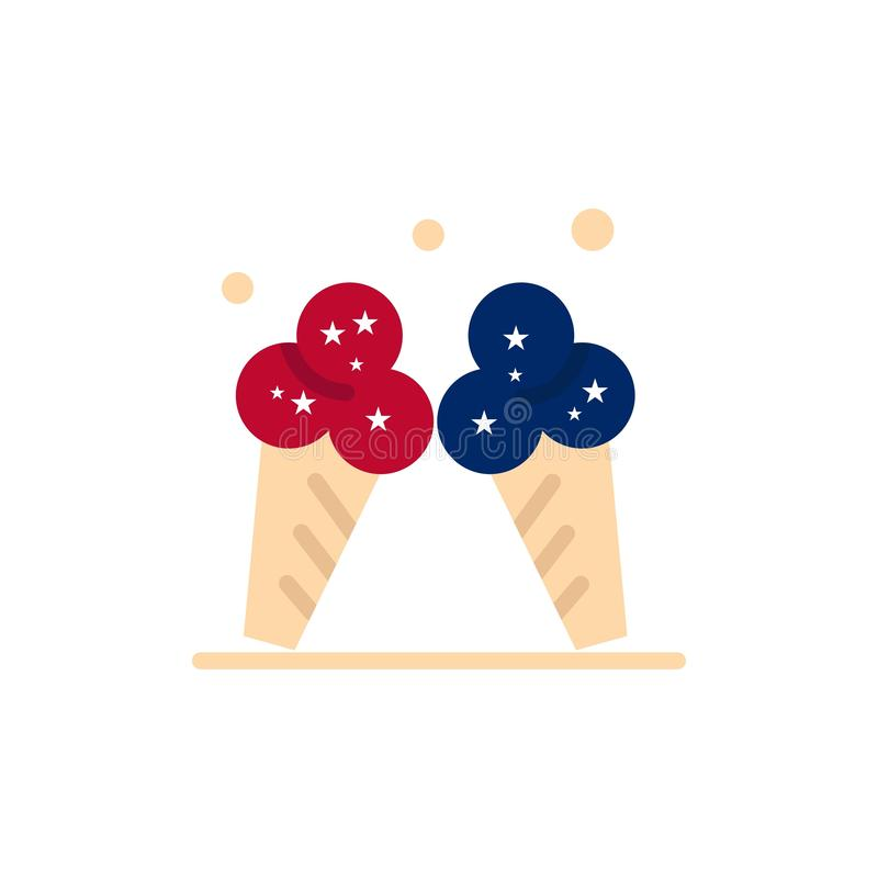 Ice cream, Ice, Cream, American  Flat Color Icon. Vector icon banner Template royalty free illustration